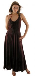 Gothic Dress~Viscose laced & embroidered long sleeveless dress~By Bares & Folio Gothic Hippy~345